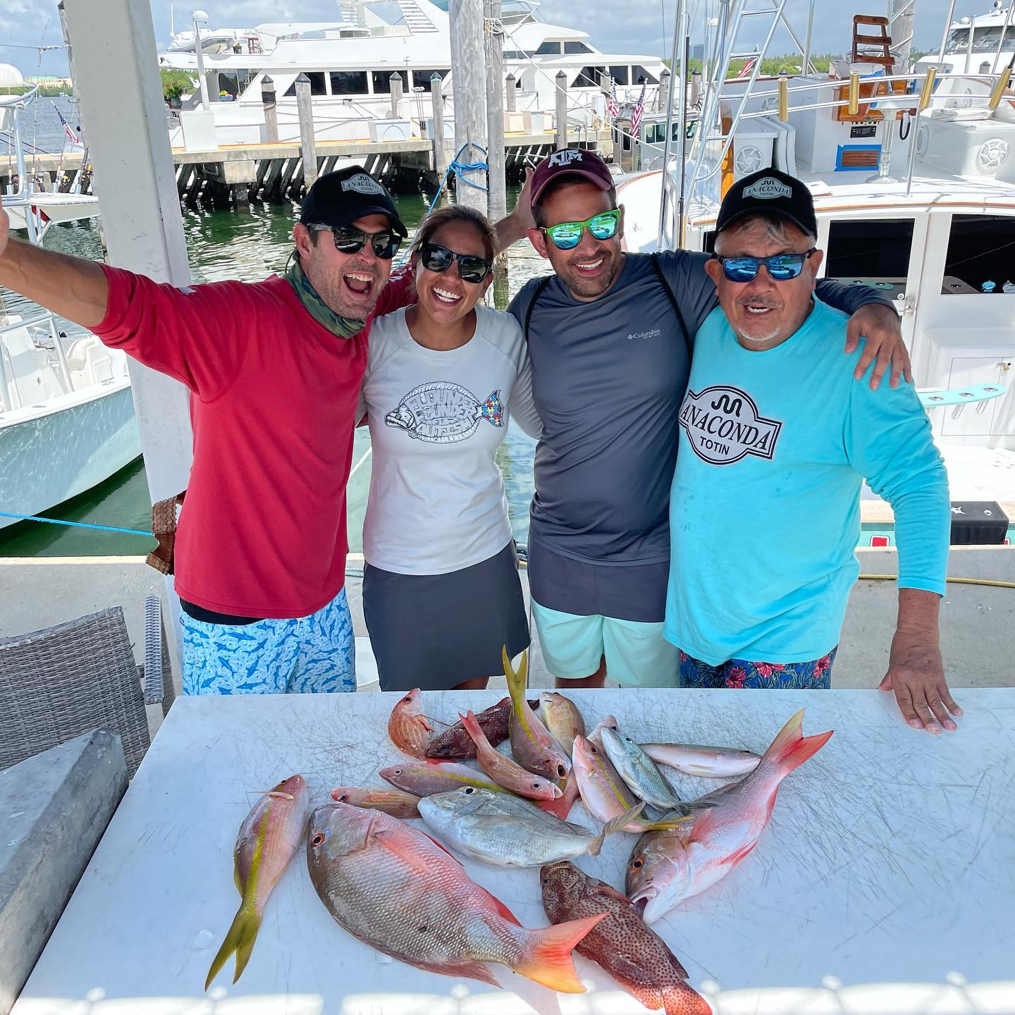 Today, The reef provided Pile of Snappers and Grouper Josh and Julie and their family. They were wore out by 9:15 and wanted to go sightseeing so we cruised around the rest of the trip. Great times with great people. #GOHARDFISHING #miamibeach #charterfishing #miamisluckiestcharterboat @starbrite_com